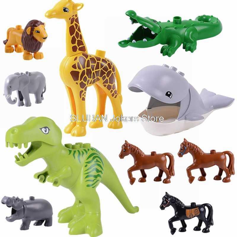 Legoing duplo animais jurássico wolrd dinossauro tubarão cavalo elefante hipopótamo cão modelo brinquedo blocos de construção legoings amigo duplo zoo