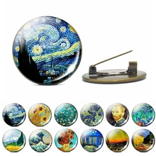 Van Gogh Jewelry Starry Night Art Painting Brooch Glass Cabochon Vintage Copper Fashion Accessories for Women Lovers Gift