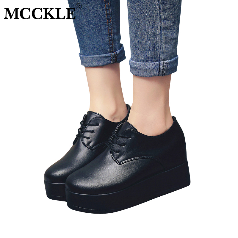MCCKLE 2018 Women Spring Flat Platform Shoes Female Lace Up Carppers Ladies Casual Comfortable Black Shoe Woman Zapatillas Mujer mcckle new fashion women s summer comfortable shoes open toe black buckle female casuals flat platform sandals woman shoes