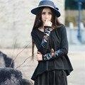 El otoño Y la Primavera de Gran Tamaño Tops Camiseta de Manga Larga de Las Mujeres Diseño Irregular Flojo Y Ocasional de Algodón Nueva Ropa de Moda