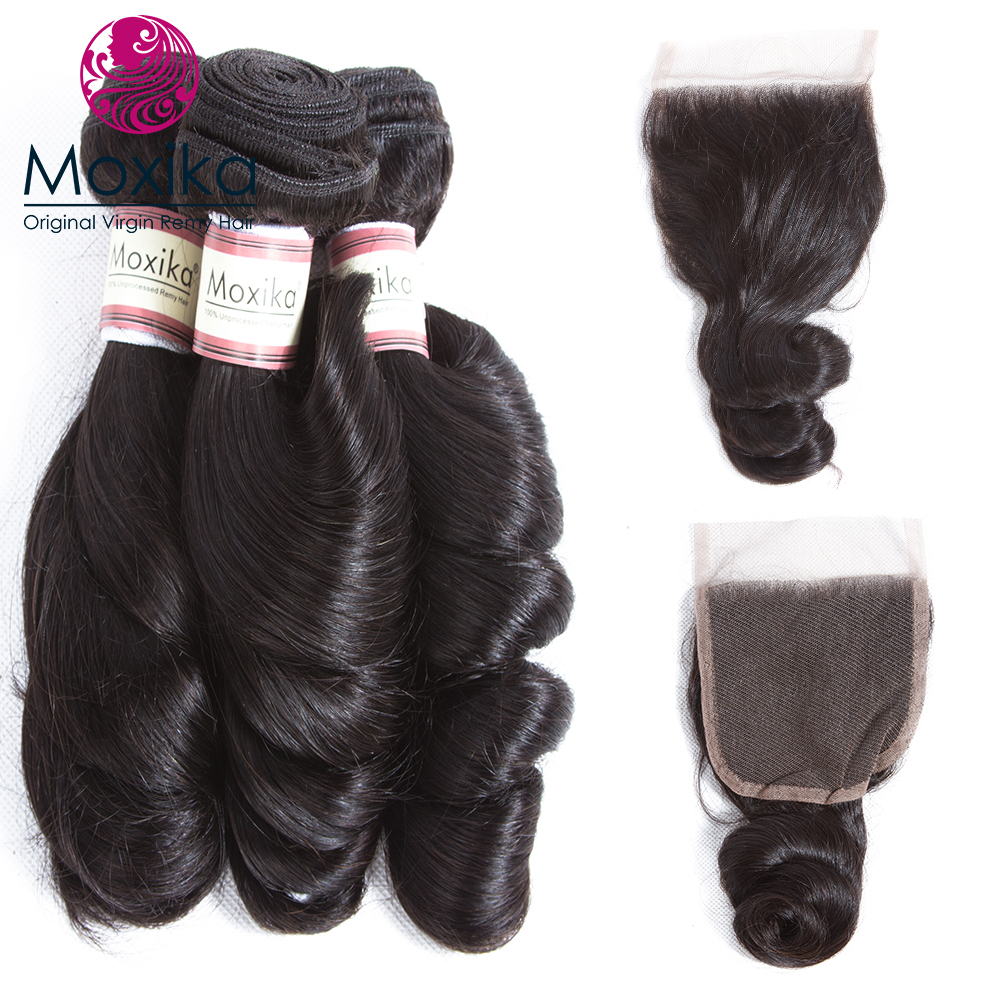 Moxika 髪バンドル閉鎖 3 バンドルブラジル髪織りとレースの閉鎖レミー人間の髪のバンドル閉鎖  グループ上の ヘアエクステンション & ウィッグ からの 3/4 バンドル留め具付き の中 1