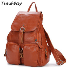 2016 Women Genuine Leather Backpacks Famous Brand Vintage Backpacks For Teenage Girls School Bags Real Leather Casual Travel Bag