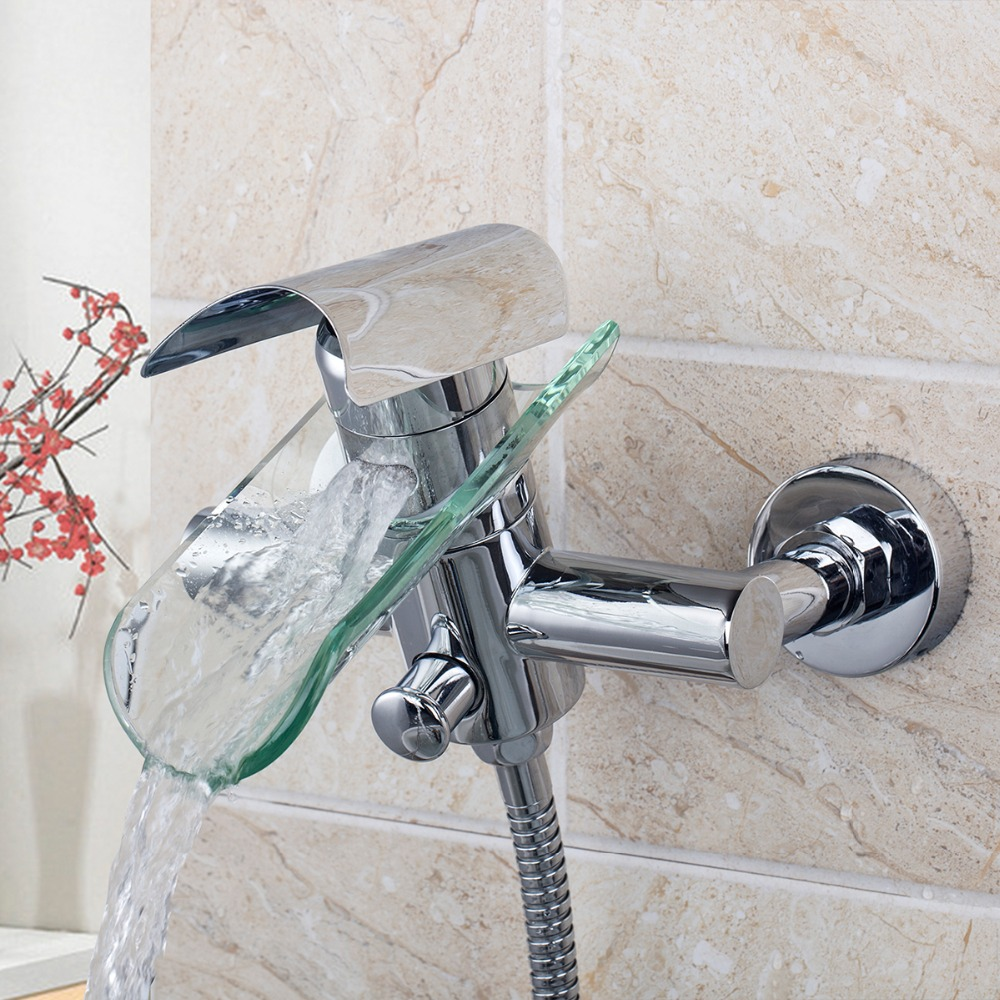 Waterfall 8208/8 Tiles Design Wall Mounted Single Lever Dual Control Chrome Clear Glass Spout With Handheld Shower Mixer Faucet free shipping polished chrome finish new wall mounted waterfall bathroom bathtub handheld shower tap mixer faucet yt 5333
