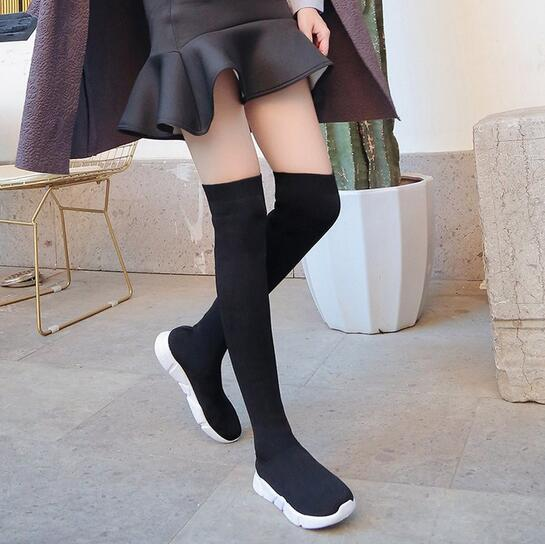 long boots autumn and winter 2018 new ultra-thin elastic high tube flat bottom wild socks boots