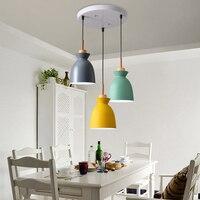 Nordic Macaron Pendant Lights LED Lamp for Dining Room Three heads lights Creative Lampara Bar Hanglamp Suspension Luminaire