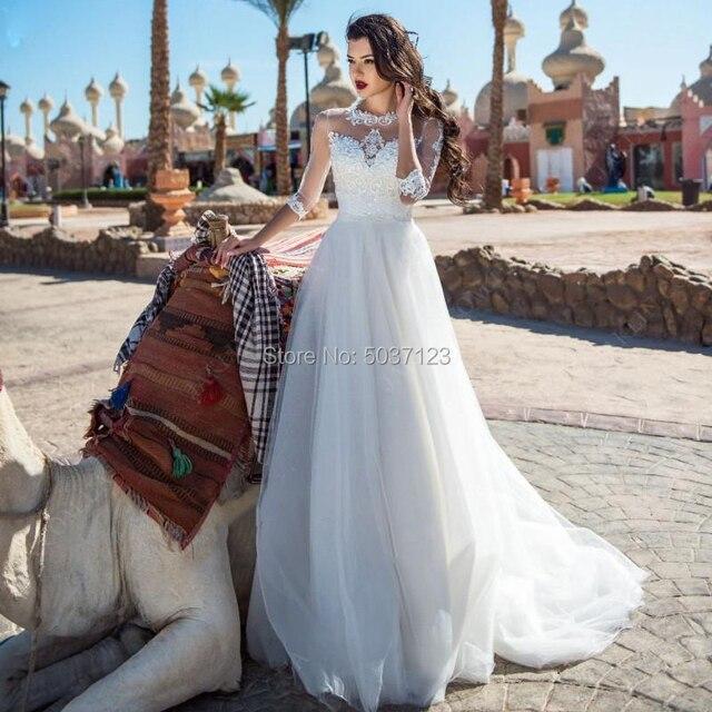 Bir Çizgi Gelinlik Dantel Aplikler Üç Çeyrek Düğme Illusion gelin kıyafeti Gelin Evlilik Longo Vestido De Novias