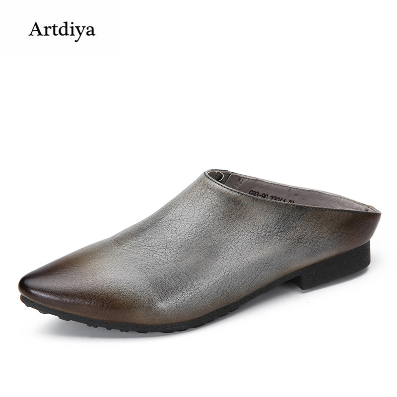Artdiya Spring and Summer New Fashion Pointed Toe Flat Women's Slippers Genuine Leather Soft Sole Retro Handmade Sandals G93-90 2018 new high end leather comfortable feet sandals classic sandals handmade leather slippers handmade leather slippers