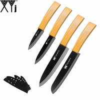 XYJ Zirconia Ceramic Knife Set Bamboo Handle Black Blade 3 4 6 6 Kitchen Knives Paring