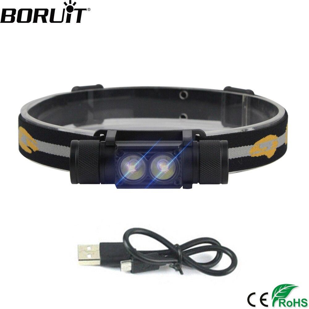 BORUiT 1000LM XP-G2 LED Headlight USB Charger 18650 Battery Headlamp 4-Mode Head Torch Waterproof Camping Hunting Flashlight
