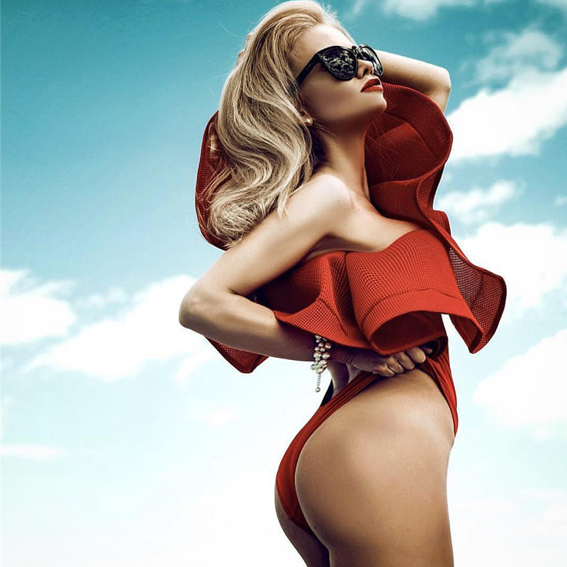 Venta caliente de un hombro Ruffle Women Body Sexy Body Top Red Black - Ropa de mujer - foto 2
