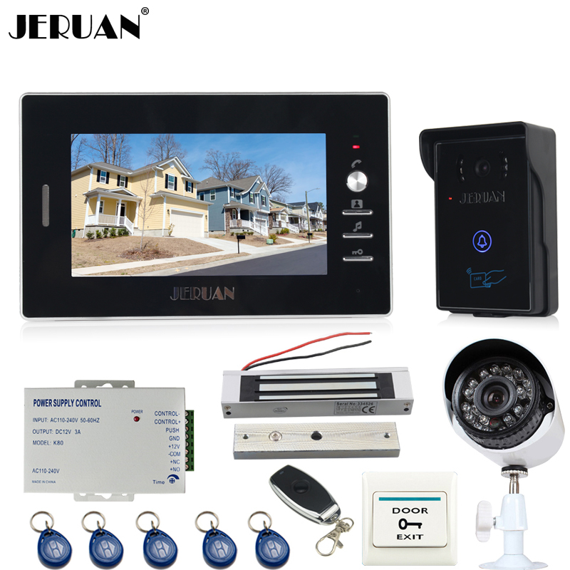 JERUAN 7`` TFT Video door Phone Intercom System waterproof touch key RFID Access Camera + 700TVL Analog Camera + remote control