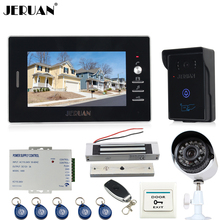 "JERUAN 7"" TFT Video door Phone Intercom System waterproof touch key RFID Access Camera + 700TVL Analog Camera + remote control"