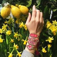 Chegada nova Handmade Colorido Bohemian Bangle Boho Tecer Carta Borla Cristal Pulseiras Magnéticas Para As Mulheres Jóias bijoux 360