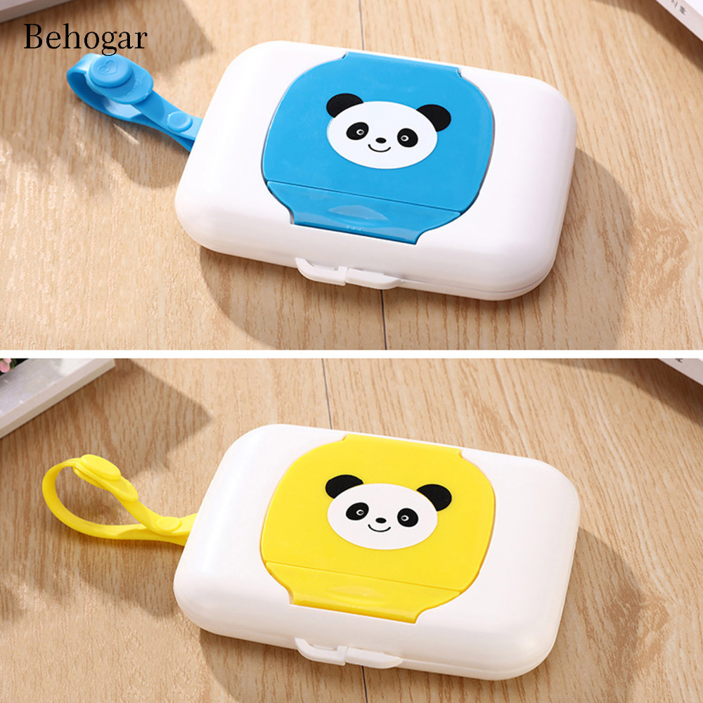 Behogar Portable Cute Tissue Boxes Container Organizer Travel Wet Wipes Storage Case Dispenser with Strap for Kids Baby Toddler
