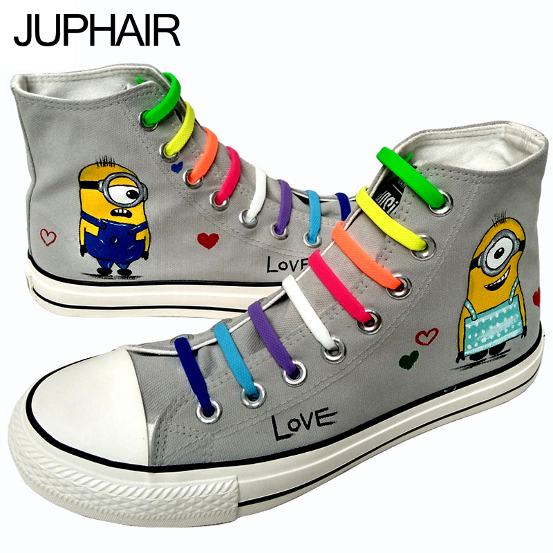 JUP Men Males Boy Gray Hand Painted Canvas Shoes High Anime Despicable Me Minions Comfortable Casual