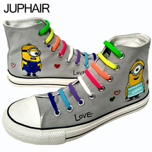 JUP Men Males Boy Gray Hand Painted Canvas Shoes High Anime Despicable Me Minions Comfortable Casual Lazy Shoelace Gift Footwear