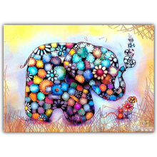 5D Diamond Painting DIY Colorful Elephant Animal Embroidered Cross Rhinestone Mosaic Gift Decoration Pendant Pattern