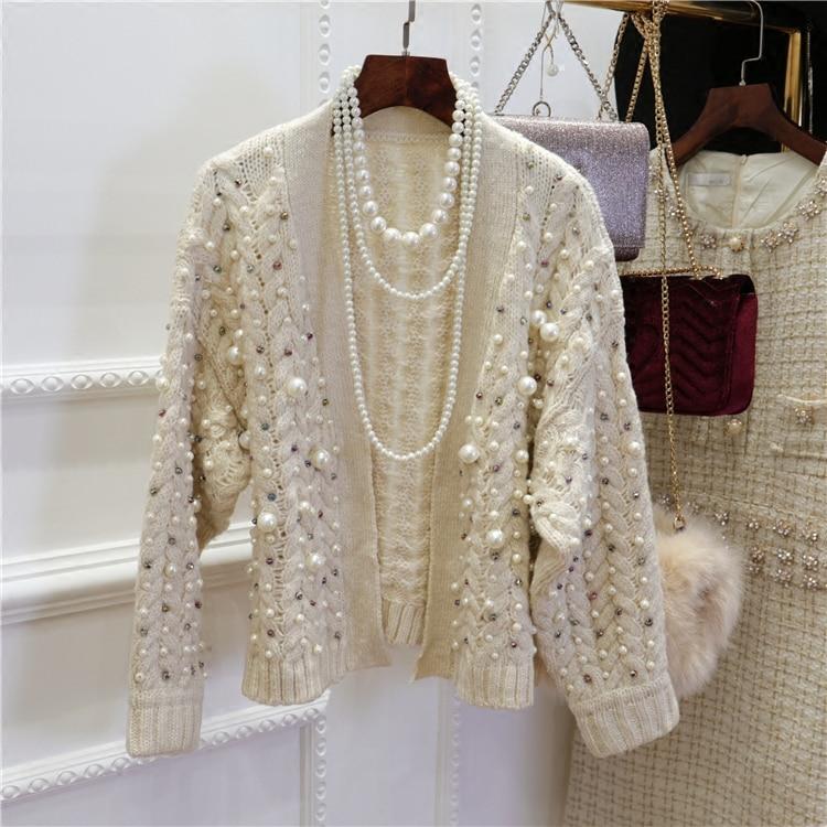 Knitwear Women Spring Winter New Fashion Heavy Pearl Beaded Thickening Warm Knit Cardigan Coat Girl Ladies Knitting Sweater