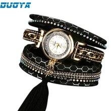 Duoya Model Vogue Leather-based Bracelet Watch Ladies Luxurious Full Crystal Quartz Wristwatch Relogio Feminino Clock Dropship