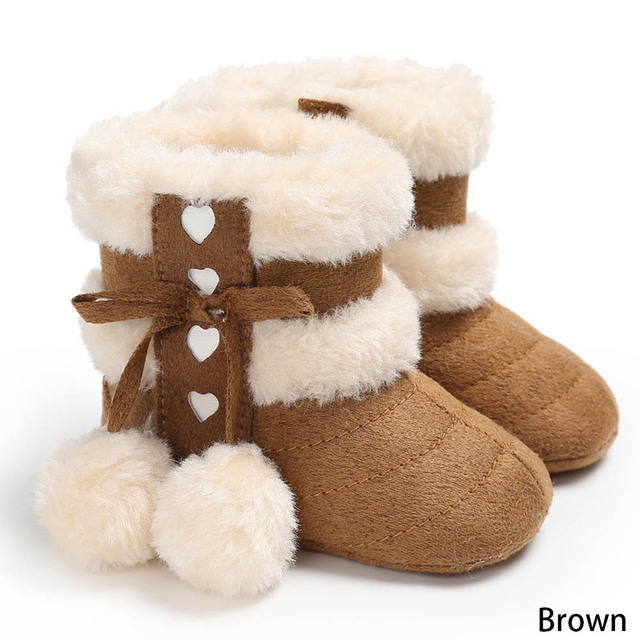 805e04d22 5 Colors Girls Soft Plush Booties Infant Anti Slip Snow Boots Warm Cute  Snow Baby Girl Winter Boots