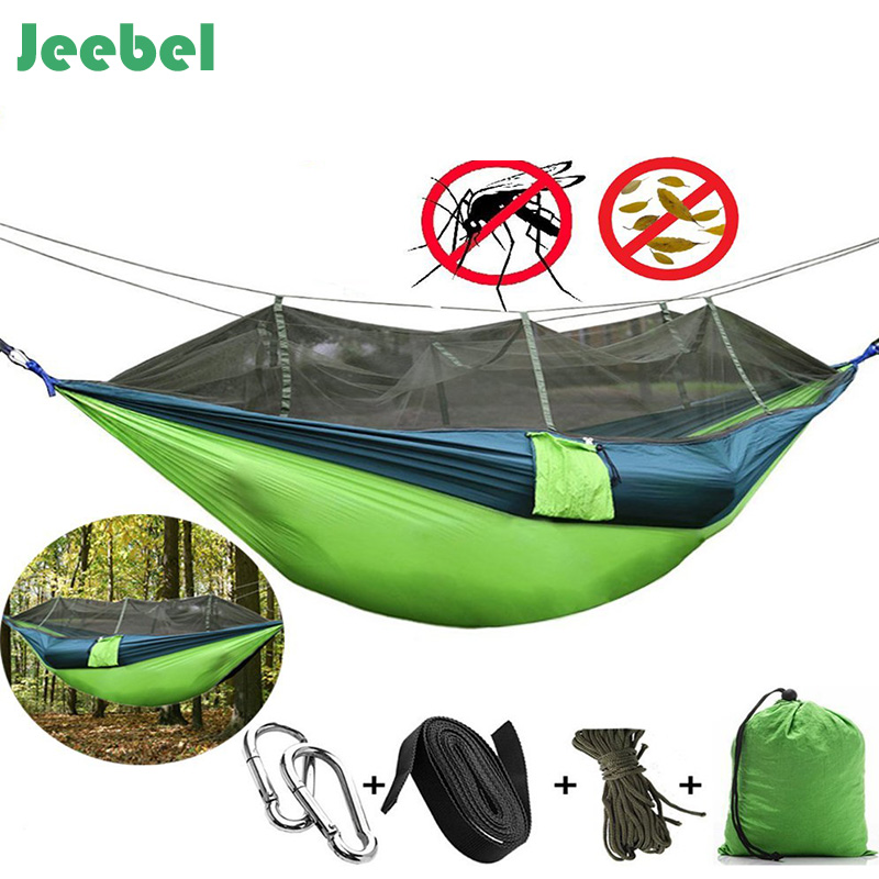 Jeebel Newest Fashion Parachute Fabric Hammock 1-2 Person Portable Mosquito Net Hammock for Outdoor Camping travel garden swings
