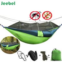 Jeebel Newest Fashion Parachute Fabric Hammock 1 2 Person Portable Mosquito Net Hammock for Outdoor Camping travel garden swings
