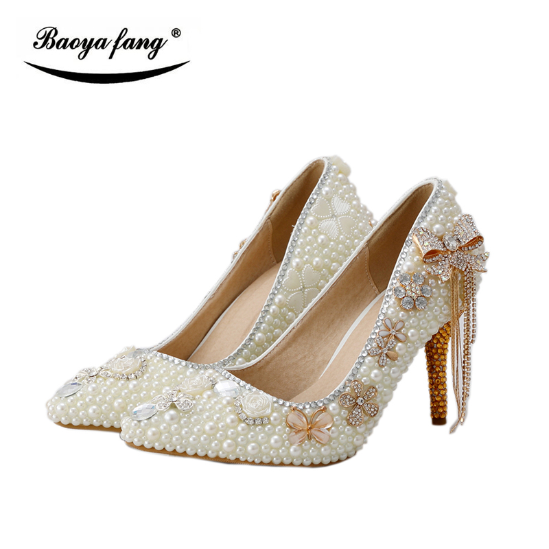 BaoYaFang Champagne crystal ivory pearl wedding shoes Bride 8cm heel pointed toe womens Pumps crystal tassels woman shoes baoyafang white luxury crystal womens wedding shoes bride lace thin heel high heels party dress shoes woman female shoes
