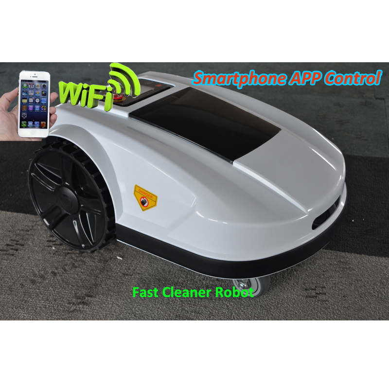Outil de jardin d'herbe de Robot de télécommande de couleur blanche avec la taille de coupe réglable, contrôle d'application de WIFI de téléphone intelligent, fonction de gamme