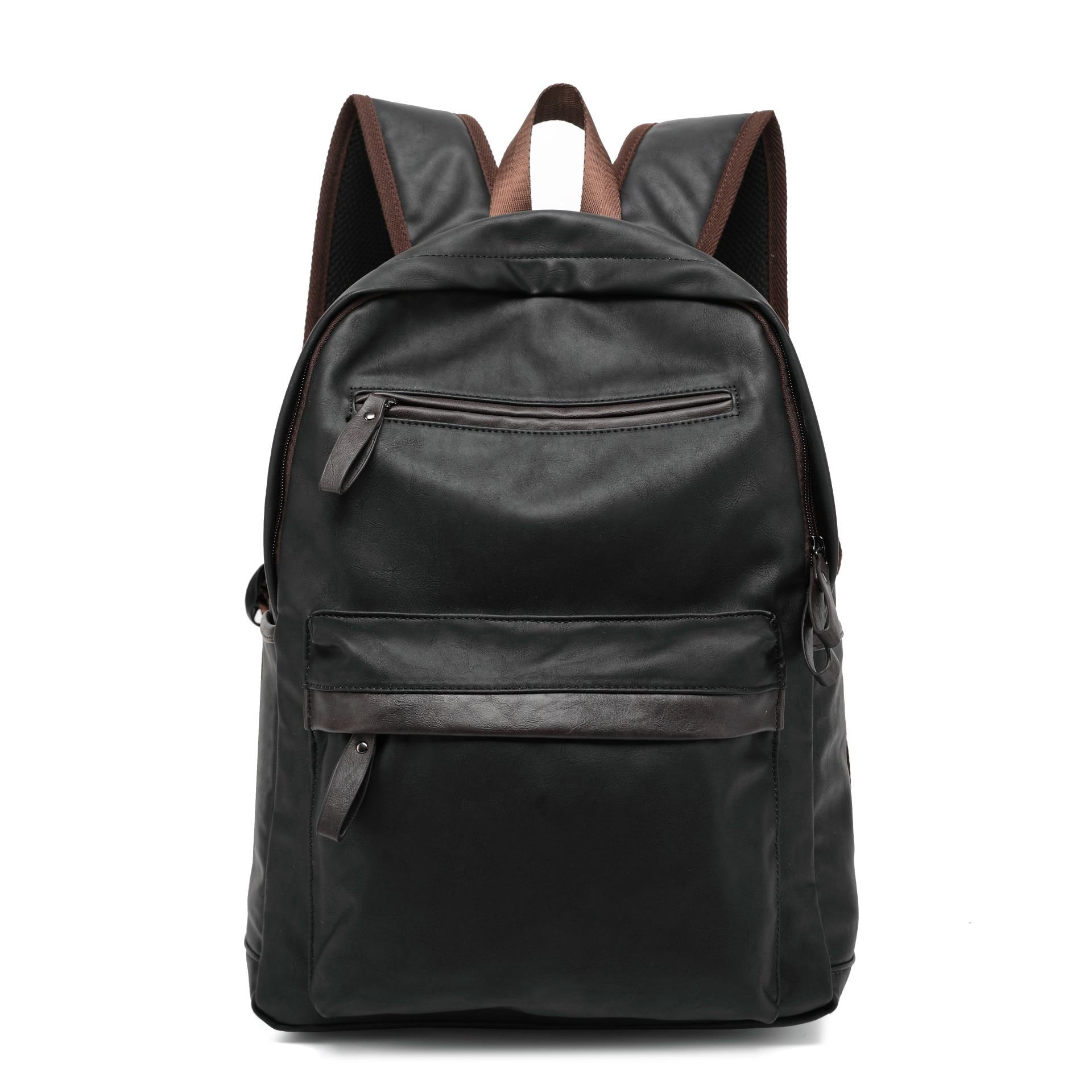 2017 Brand Waterproof Laptop Backpack Men Pu Leather Backpacks for Teenager Men Casual Daypacks Solid Black Brown Travel Bagpack