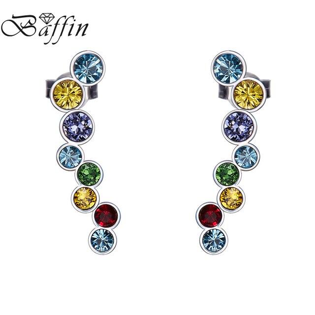 fotos oficiales 2bdcb a0616 Cristales de BAFFIN Swarovski pendientes Clip Plata Ley 925 para mujeres  boda fiesta Piercing S925 Bijoux regalos