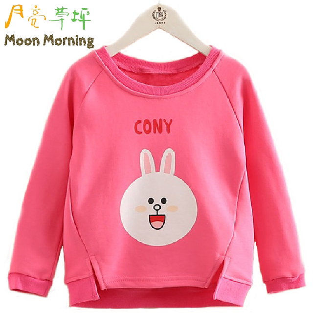 Moon Morning Kids Hoodies Bunny Rabbit Cartton Print Girl Cloth 2T~8T Long Sleeve Spring CONY Child Clothes Good Quality Garment