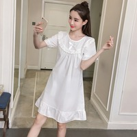e68f53304 2019 Summer 100 Cotton Short Sleeve Nightgowns For Women Fashion White Lace  Home Dress Sleepwear Night