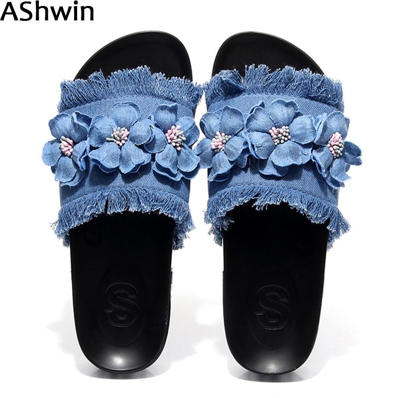 AShwin/летние джинсовые тапочки повседневные сандалии на плоской подошве модные шлепанцы для улицы парусиновые тапочки сандалии для девочек