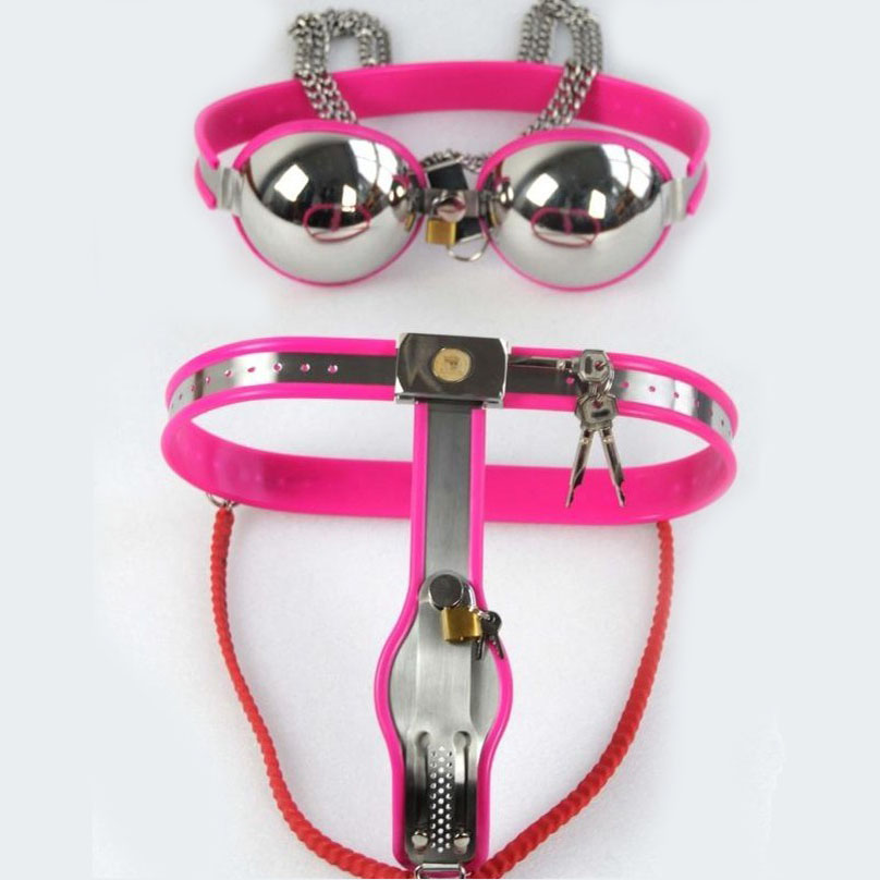 2pcs/set stainless steel chastity belt female fetish wear underpants bra bdsm bondage kit woman sexy products for adults toys stainless steel 3pcs set female chastity belt bra thigh ring fetish wear bdsm bondage restraints kit for woman sex products