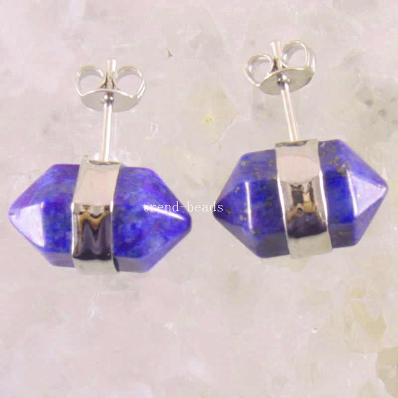 จัดส่งฟรีหินธรรมชาติลูกปัดสีฟ้า Lapis Lazuli ต่างหู 1 คู่ U303