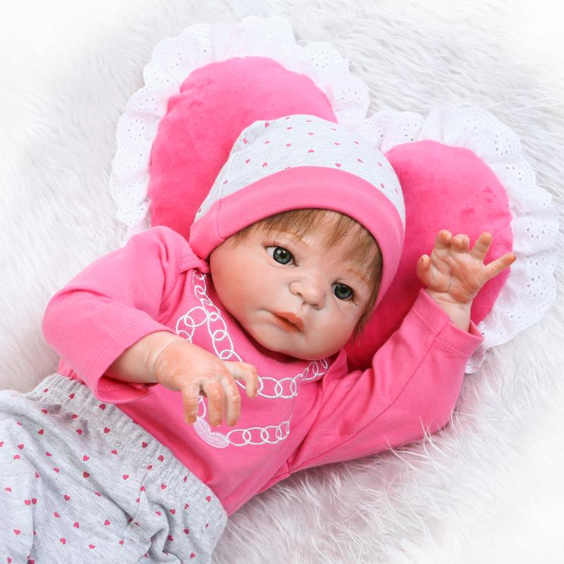 Pursue 22/57 cm Soft Vinyl Full Body Silicone Reborn Baby Dolls for Girls Birthday Christmas Gift House Play Education Doll Toy pursue 22 56 cm big smile face reborn boy toddler baby doll cotton body vinyl silicone baby boy doll for children birthday gift