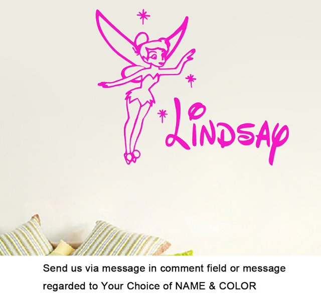 Custom made personalized custom name tinkerbell flying art wall decal sticker for girls room