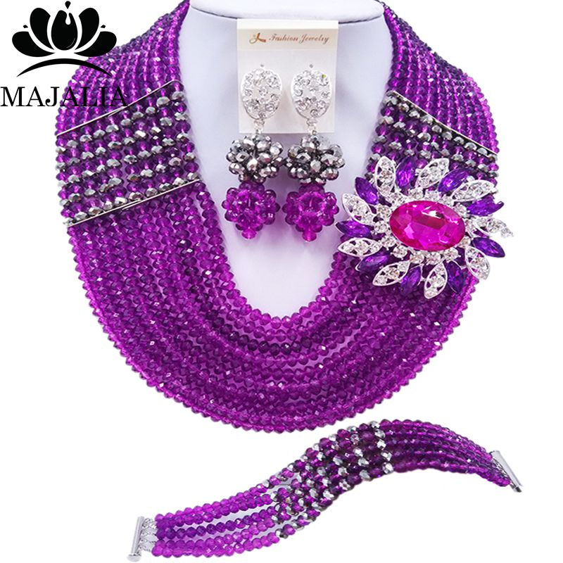Majalia Official Store Majalia Fashion Classic Nigerian Wedding African Jewelery Purple Crystal Necklace Bride Jewelry Sets Free Shipping 10CJ0047