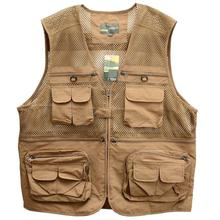 Fishing vest outdoor sports photography fishing multi-pocket zipper casual loose mesh vest men's large size