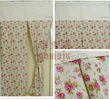 Free shipping Cotton linen blend Floral button rustic door font b curtain b font kitchen font