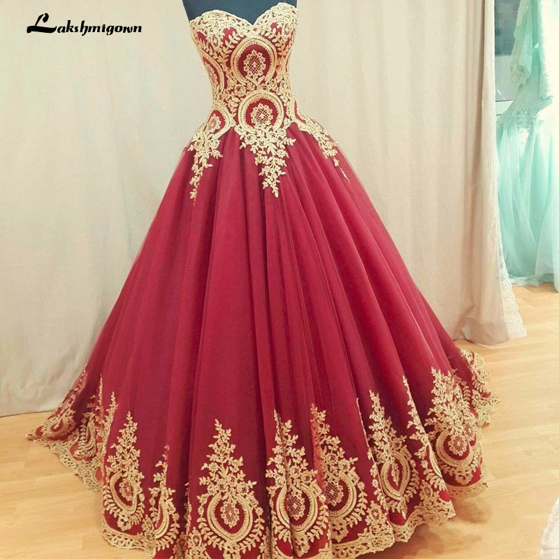 2018 Ball Gown Evening Dresses Gold Appliques Lace Burgundy Evening ...
