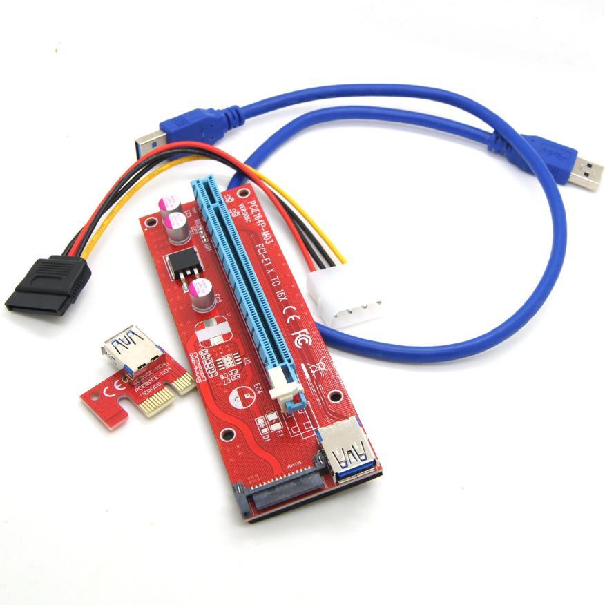 Новинка 2017 года USB3.0 pci-e Экспресс 1X к 16x Extender адаптер Riser Card SATA 6pin Мощность кабель jun27 челнока #2