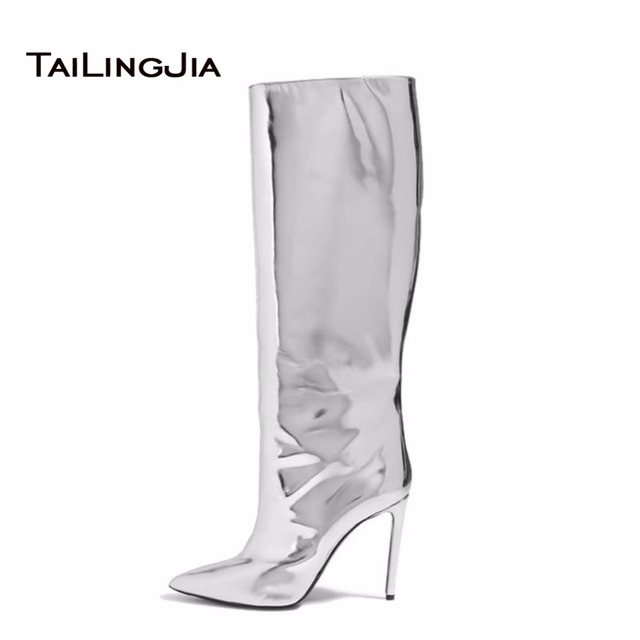 2018 Women Knee High Boots Mirror Effect Boots Slip On Stiletto Patent Leather High Heel Metallic Leather Ladies Boots Wholesale