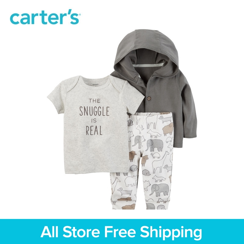 Carters baby children kids clothing BoyGirl Spring& Fall 3-Piece Babysoft Little Jacket Set Neutral the snuggle is real 126G948
