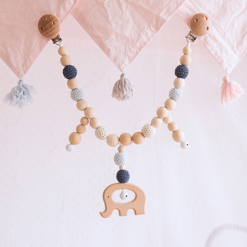 1 Set Baby Crochet Beads Teether Wood Elephant Dummy Clip Chain Pacifier Soother Holder Baby Toys Handmade Stroller Accessories