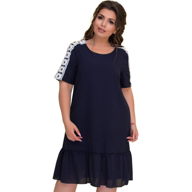Summer Dress Short Sleeve Plus Size Women Dress Lace Patchwork Casual Dress 5XL 6XL Big Size Beach Dress Female Vestidos