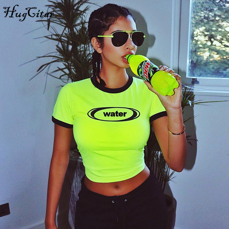Hugcitar Short Sleeve O-neck Letters Print  Patchwork Sexy Crop Tops 2019 Summer Women Fashion Streetwear Party Female T-shirts