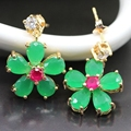 F Jewelry Lovely Flower Stud Earring For Girls Gold Plated imitation Ruby&Emerald Crystals CZ Earrings For Women E06-2