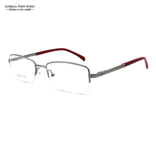 Mature Half Rim Metal Glasses Frame Women Silver Frame Slim Acetate Red Temple Spring Hinge Optical Eyeglasses SU1003 C2