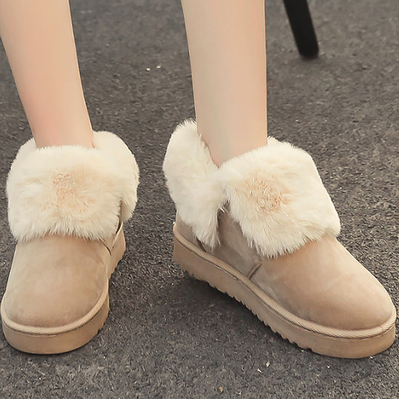 slip Plat black Peluche Boot gray Confortable Mode Pour Beige D'hiver Chaud Bottes Zip Femmes En Neige Non Flock Femelle Cheville De 2018 BwYzRgnqI